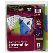 Avery Advantages Big Tab 2 Pocket Plastic Dividers, 5 CT