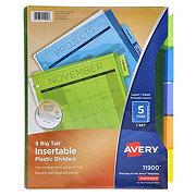 Avery Big Tab Insertable Plastic Dividers, Multicolor