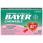Bayer Aspirin Pain Reliever/Fever Reducer Low Dose 81 mg Cherry Flavored Chewable Tablets