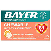 Bayer Aspirin Pain Reliever/Fever Reducer Low Dose 81 mg Orange Flavored Chewable Tablets