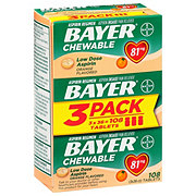 Bayer Aspirin Pain Reliever/Fever Reducer Low Dose 81 mg Orange Flavored Chewable Tablets Value Pack