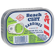 Beach Cliff Sardines In Soybean Oil With Hot Green Chilies