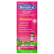 Benadryl Children's Dye-Free Allergy Liquid Bubble Gum-Flavored