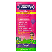 Benadryl Children's Grape Allergy Plus Congestion Liquid
