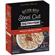 Better Oats Steel Cut Maple & Brown Sugar Instant Oatmeal with Protein