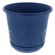 Bloem 8 Inch Freesia Planter with Etched Leaves, Deep Sea