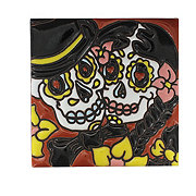 Blue Orange Potery Textured Couple Day Of The Dead Tile