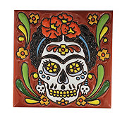 Blue Orange Potery Textured Frida Day Of The Dead Tile