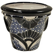 Blue Orange Pottery Azul Vaso Aro Planter