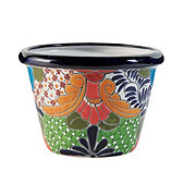 Blue Orange Pottery Border Talavera Planter