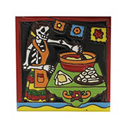 Blue Orange Pottery Day Of The Dead Cooking Textured Tile