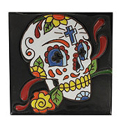 Blue Orange Pottery Day Of The Dead Yellow Rose Textured Tile