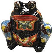 Blue Orange Pottery Frog Talavera Planter