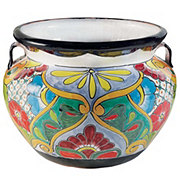 Blue Orange Pottery Large Talavera Bean Pot