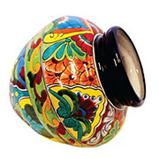 Blue Orange Pottery Large Talavera Cuban Pot