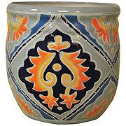 Blue Orange Pottery Maria Greca Planter