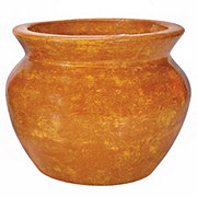 Blue Orange Pottery Medium Bean Pot Clay