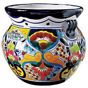 Blue Orange Pottery Medium Talavera Bean Pot