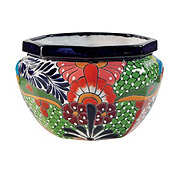 Blue Orange Pottery Octagonal Talavera Planter