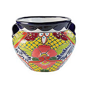 Blue Orange Pottery Small Talavera Bean Pot
