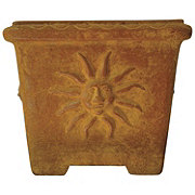 Blue Orange Pottery Sun Planter