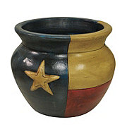 Blue Orange Pottery Texas Flag Clay Pot