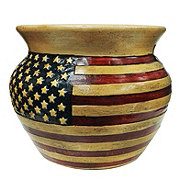 Blue Orange Pottery USA Flag Pot