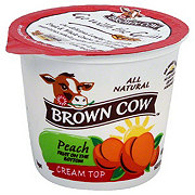 Brown Cow Peach Fruit on the Bottom Cream Top Yogurt