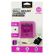 Bytech Wall Mount Charger Dual USB Ports Assorted Colors