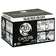 Cafe Ole by H-E-B Single Serve Flavor Value Pack Texas Pecan, Snickernut Cookie, Taste of San Antonio and Houston Blend