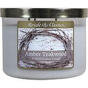 Candle-Lite Royale ClassicsWick Amber Teakwood Candle with Metal Lid