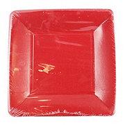 Caspari Dessert Plates Grosgrain Border Red