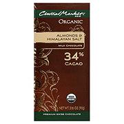 Central Market 34% Organic Cacao Almonds And Himalayan Salt Milk Chocolate