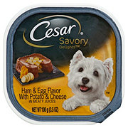 Cesar Savory Delights Canine Cuisine Ham And Egg Flavor With Potato And Cheese In Meaty Juices