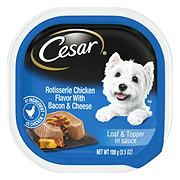 Cesar Savory Delights Canine Cuisine Rotisserie Chicken Flavor With Bacon And Cheese In Meaty Juices