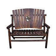 Char-Log Bench with Texas Map Medallion