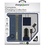 Chargeworx Android Fabric Charging Kit Blue