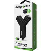 Chargeworx Dual USB Car Charger Black