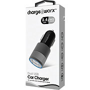 Chargeworx Dual USB Car Charger Black And Gray