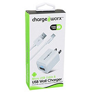 Chargeworx White Micro USB Sync Cable & USB Wall Charger