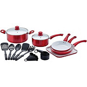 chefstyle 22 Piece Red Metallic Cookware Set