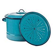 Cinsa 15 QT Turquoise Steamer Pot with Lid & Trivet