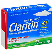 Claritin 24-Hour Non-Drowsy 10 mg Loratadine Antihistamine Allergy Tablets