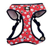 Coastal Pet Products Pet Attire Red with Paws 5/8 Inch Designer Wrap Adjustable Harness Size X-Small