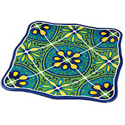 """Cocinaware 11"""" Square Dinner Plate, Blue Mexican Tile"""