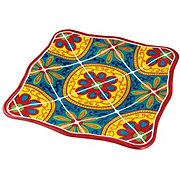 "Cocinaware 11"" Square Dinner Plate, Red Mexican Tile"