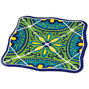 "Cocinaware 9"" Square Salad Plate Blue Mexican Tile"