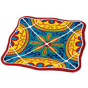 "Cocinaware 9"" Square Salad Plate, Red Mexican Tile"