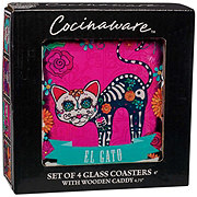 Cocinaware Day Of The Dead 4 Piece Glass Coaster Set