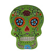 Cocinaware Day Of The Dead Ceramic Green Skull Candy Bowl
